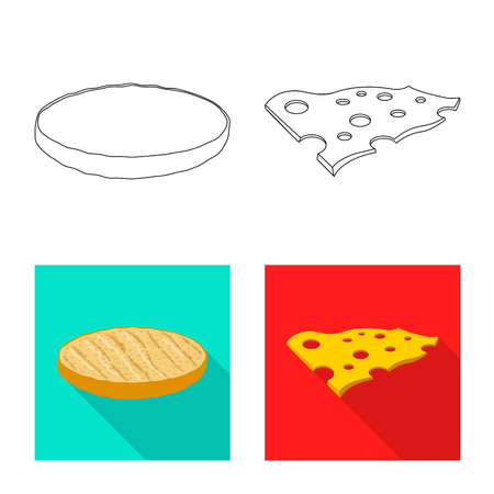 Isolated object of burger and sandwich sign. Set of burger and slice vector icon for stock. Illustration