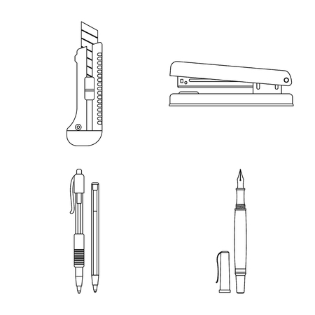 Isolated object of office and supply icon. Set of office and school stock vector illustration.