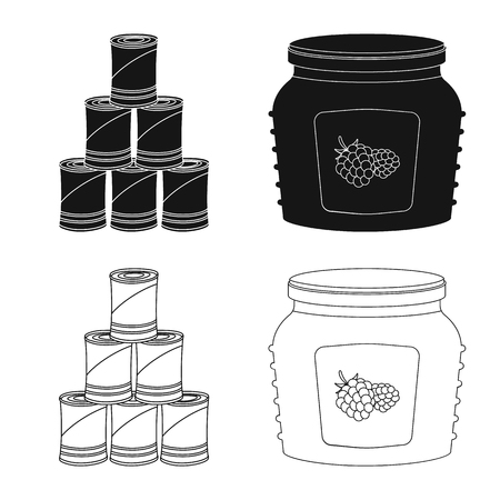 Vector illustration of can and food sign. Collection of can and package stock vector illustration. Vettoriali