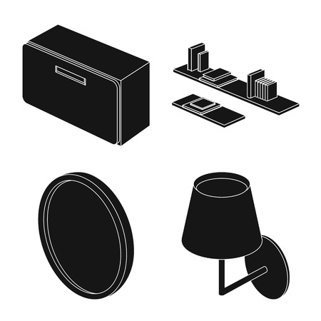 Isolated object of bedroom and room icon. Set of bedroom and furniture stock vector illustration.