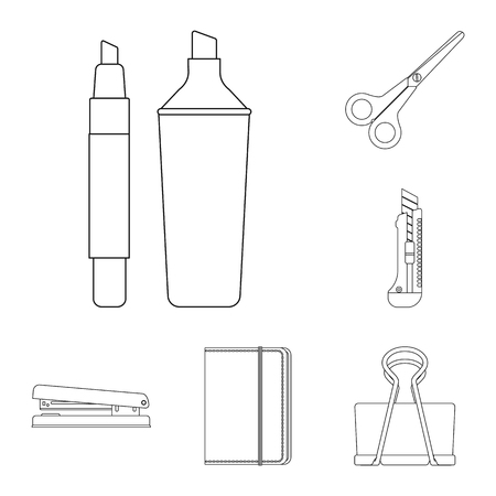 Vector illustration of office and supply icon. Collection of office and school stock symbol for web.