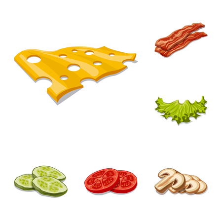 Isolated object of burger and sandwich sign. Collection of burger and slice stock vector illustration. 向量圖像