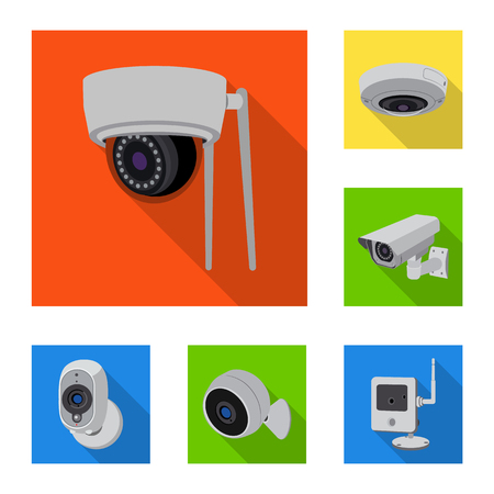 Isolated object of cctv and camera logo. Collection of cctv and system stock symbol for web. Illustration