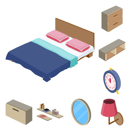 Vector illustration of bedroom and room logo. Collection of bedroom and furniture stock symbol for web.