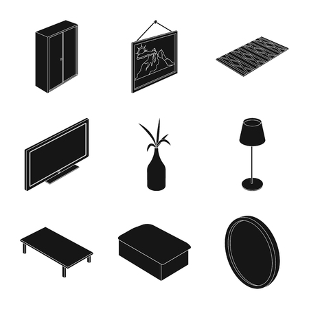 Isolated object of bedroom and room icon. Set of bedroom and furniture stock symbol for web. Illustration