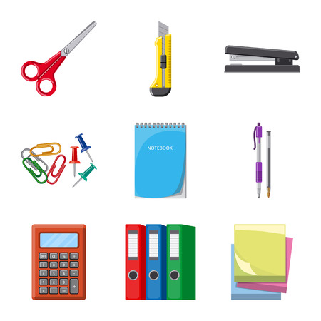 Isolated object of office and supply logo. Set of office and school stock symbol for web. Illustration