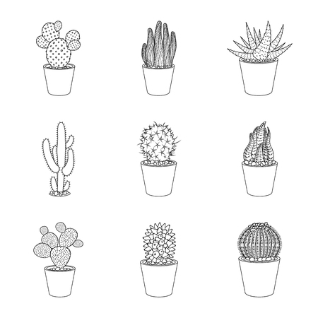 Vector illustration of cactus and pot logo. Set of cactus and cacti vector icon for stock. Logo