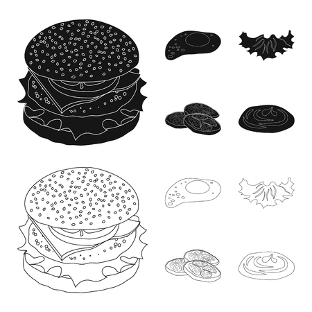 Vector design of burger and sandwich logo. Collection of burger and slice vector icon for stock.