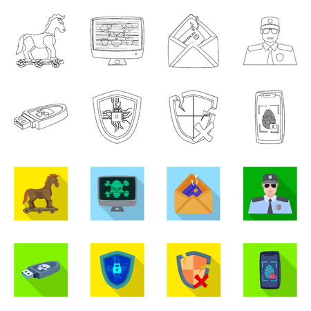 Vector illustration of virus and secure icon. Set of virus and cyber stock symbol for web. Illustration