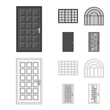 Vector design of door and front symbol. Set of door and wooden stock vector illustration.