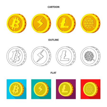Isolated object of cryptocurrency and coin symbol. Set of cryptocurrency and crypto stock symbol for web.