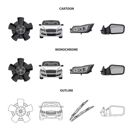 Vector illustration of auto and part logo. Collection of auto and car stock symbol for web.
