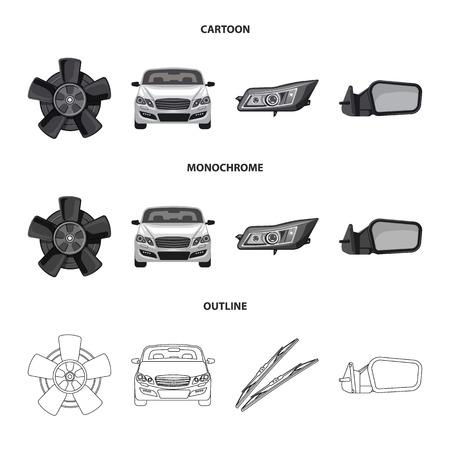 Vektorillustration des Auto- und Teilelogos. Sammlung von Auto und Auto Stock Symbol für Web.