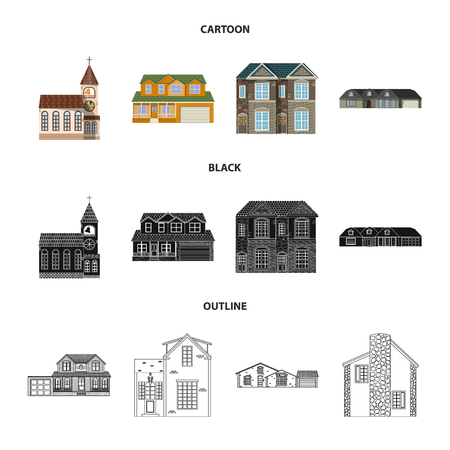 Vector design of building and front icon. Set of building and roof stock vector illustration.
