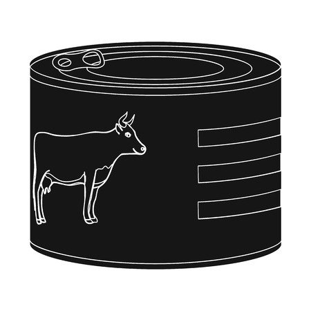 Vector design of can and food icon. Collection of can and package stock vector illustration. Ilustrace