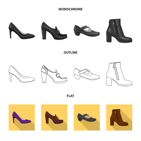Vector illustration of footwear and woman icon. Collection of footwear and foot vector icon for stock.