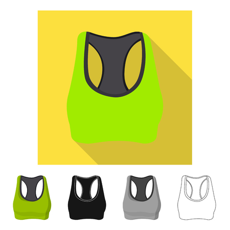 Vector illustration of woman and clothing symbol. Set of woman and wear stock symbol for web. Stock Illustratie