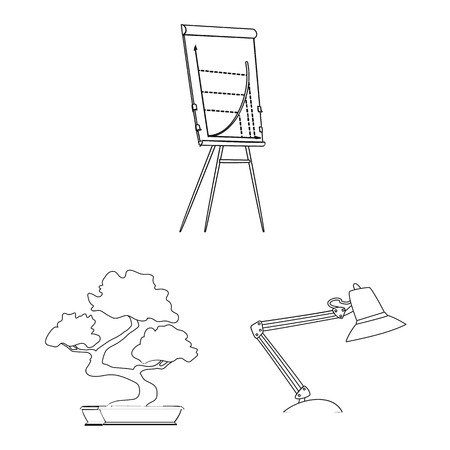 Vector illustration of furniture and work icon. Collection of furniture and home vector icon for stock.