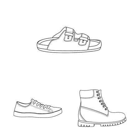 Isoliertes Objekt der Schuh- und Schuhikone. Satz Schuh- und Fußvorrat-Vektorillustration.