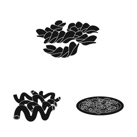 Isolated object of pasta and carbohydrate sign. Collection of pasta and macaroni stock symbol for web.