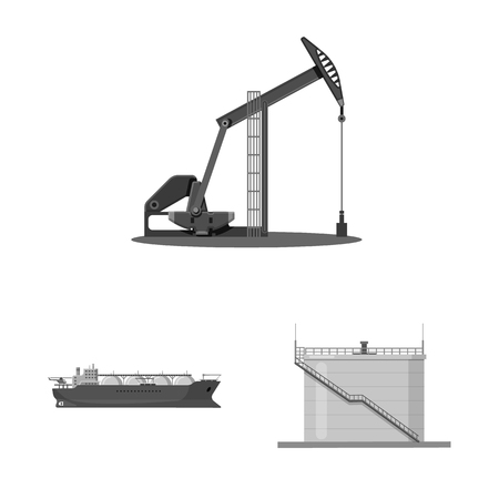 Vector design of oil and gas icon. Set of oil and petrol vector icon for stock.