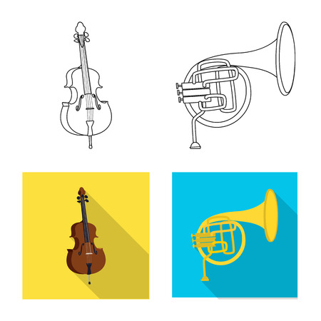 Vector illustration of music and tune sign. Set of music and tool stock vector illustration. Banque d'images - 112690549