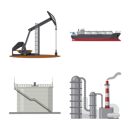 Vector illustration of oil and gas icon. Set of oil and petrol stock symbol for web.