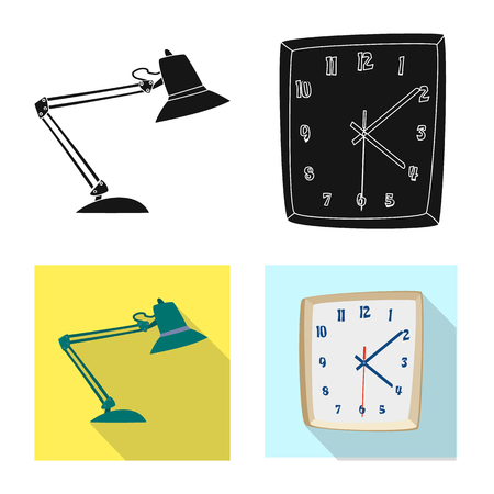 Isolated object of furniture and work symbol. Collection of furniture and home stock symbol for web. Çizim