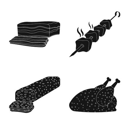 Vector illustration of meat and ham logo. Set of meat and cooking stock vector illustration. Illustration
