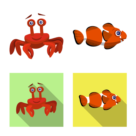 Vector illustration of sea and animal icon. Collection of sea and marine stock symbol for web.