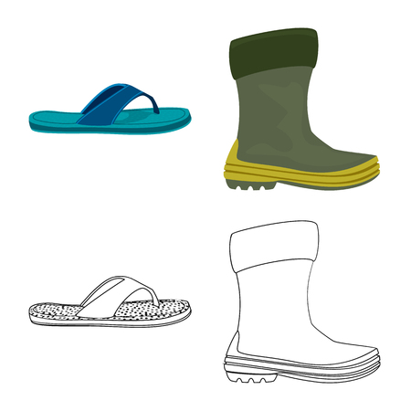 Vector design of shoe and footwear icon. Collection of shoe and foot stock vector illustration. Illustration