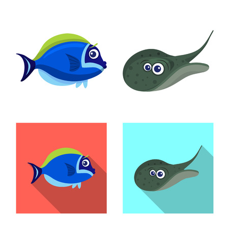 Vector illustration of sea and animal logo. Collection of sea and marine stock vector illustration.