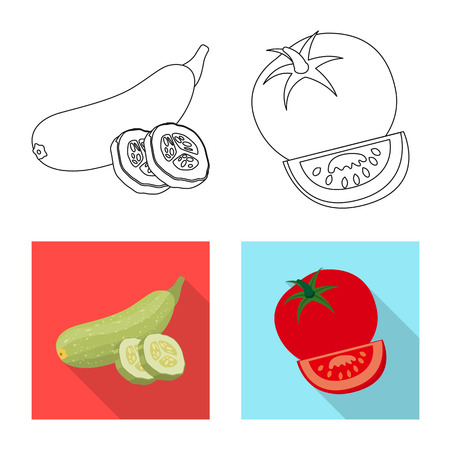Vector illustration of vegetable and fruit symbol. Set of vegetable and vegetarian stock symbol for web.
