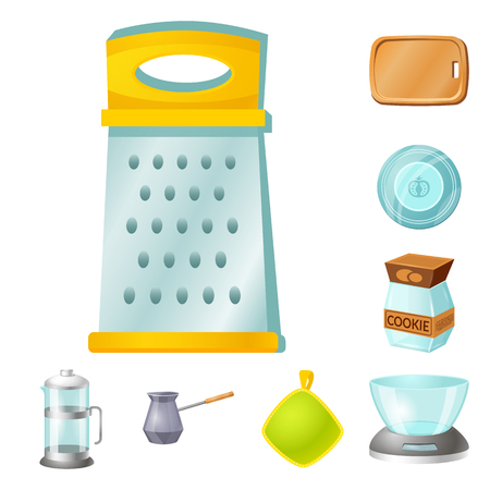 Vector illustration of kitchen and cook icon. Set of kitchen and appliance vector icon for stock. Vetores
