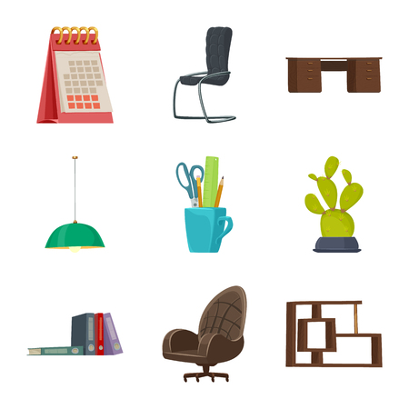 Isolated object of furniture and work sign. Collection of furniture and home stock vector illustration.