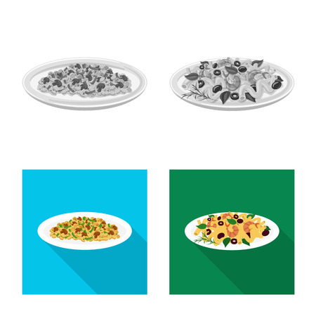 Vector illustration of pasta and carbohydrate icon. Collection of pasta and macaroni stock vector illustration.