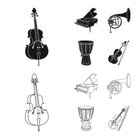 Vector illustration of music and tune symbol. Set of music and tool vector icon for stock. Banque d'images - 112693901