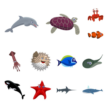 Vector design of sea and animal symbol. Collection of sea and marine stock vector illustration.