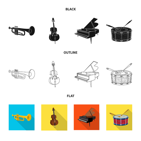 Vector design of music and tune icon. Set of music and tool vector icon for stock. Illustration