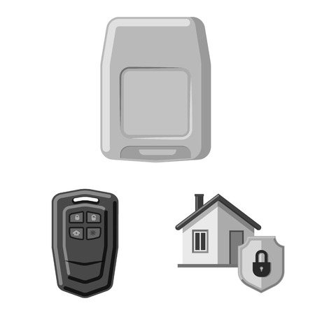 Isolated object of office and house sign. Set of office and system stock symbol for web. Illustration