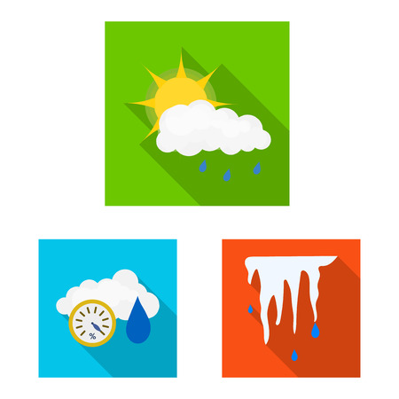 Isolated object of weather and climate logo. Collection of weather and cloud stock symbol for web.