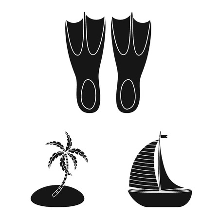 Isolated object of equipment and swimming logo. Set of equipment and activity vector icon for stock.