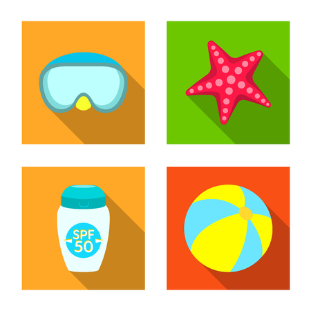 Vector illustration of equipment and swimming sign. Collection of equipment and activity vector icon for stock.