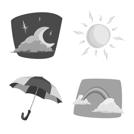 Vector illustration of weather and climate symbol. Collection of weather and cloud stock symbol for web.