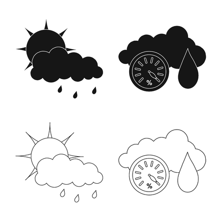 Isolated object of weather and climate icon. Set of weather and cloud stock symbol for web.