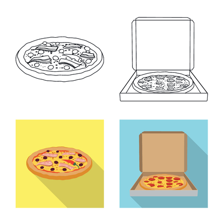 Isolated object of pizza and food icon. Set of pizza and italy stock symbol for web.