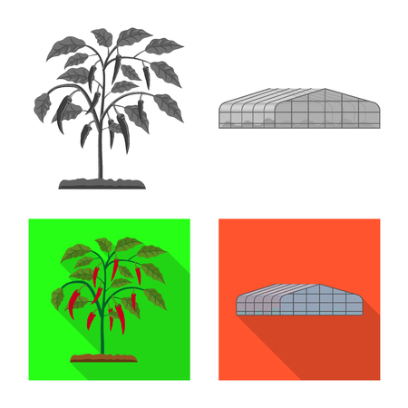 Isolated object of greenhouse and plant symbol. Set of greenhouse and garden vector icon for stock. Stock Illustratie