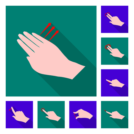 Vector design of touchscreen and hand logo. Set of touchscreen and touch stock symbol for web.