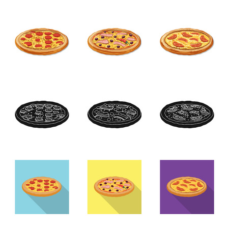 Vector design of pizza and food logo. Set of pizza and italy stock vector illustration. 일러스트