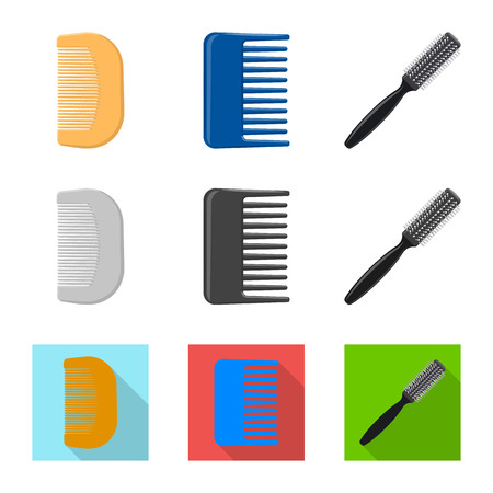 Vector design of brush and hair logo. Collection of brush and hairbrush stock vector illustration.